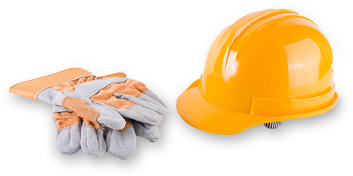 Image of a hard hat and gloves